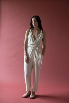 Electric Feathers Infinite Rope Jumpsuit in Ivory | Oroboro Store