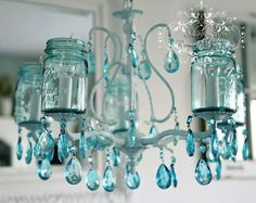 LOVE these mason jar chandeliers!!!!