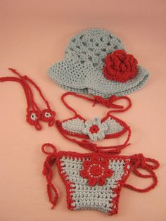 Bikini Beach Baby Bundle  SET Newborn to by ForgetMeKnotsCrochet, $55.00