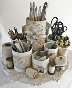 desk top organizer. repurposed tin cans, burlap, lace and vintage papers. by Naniacjack