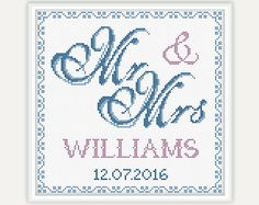 Wedding Gift Mr & Mrs Wedding Cross Stitch by PatternsTemplates