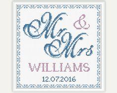 Wedding Gift Mr & Mrs Wedding Cross Stitch by PatternsTemplates