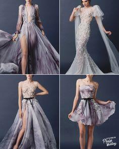 "Paolo Sebastian (Adelaide designer - Paul Vasileff) 2015 ""The Sleeping Garden"" collection - Purplish printed dresses with floral embroideryDesigner: Paolo Sebastian"