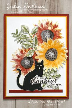Halloween Card Ideas | Painted Harvest by Stampin' Up! with Spooky Night Designer Series Paper | Cat Punch | Rubber Stamping | Handmade Cards | The Way We Stamp | Julie DeGuia