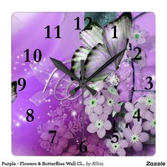 Purple - Flowers & Butterflies Wall Clock