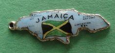 Vintage Sterling Silver Enamel Ocho RIOS Montego Bay Jamaica Flag Map Charm | eBay