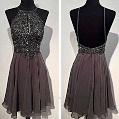Dark grey sparkly special vintage open back sexy popular homecoming prom dress The dark grey vintage homecoming dresses are fully lined, 8 bones in the bodice, chest pad in the bust, lace up back or z