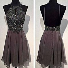 Dark grey sparkly special vintage open back sexy popular homecoming pr –…