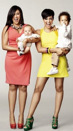 Tamera Mowry-Housley (left) with her son Aden, and Tia Mowry-Hardrict with her son Cree.