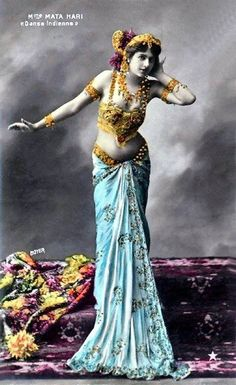 Mata Hari - Classic French Postcard Semi-Nude Portrait - Restored Hand Colored Photograph on Archival Materials - Suitable for Framing Mata Hari, Tribal Fusion, Photo Illustration, Illustrations, Divas, Photo Vintage, Tribal Belly Dance, Jolie Photo, Belly Dancers
