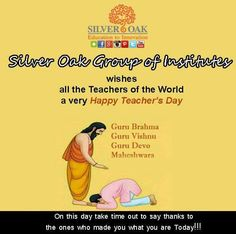 Silver Oak college wishes all the teachers round the world a very Happy teachers day.... #socetcampus #silveroak #socet #silveroakcollege #ahmedabad #gujarat #teachersday