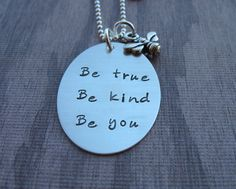 Hand Stamped Jewelry Be True Be Kind Be You Sterling Silver Necklace Bumble Bee charm #handmade #etsyhandmade