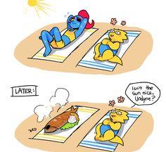 Sun bathing Alphys and Undyne XD funny comic! Undertale