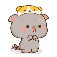 Cute Animal Drawings, Kawaii Drawings, Cute Drawings, Cute Love Gif, Cute Love Pictures, Cute Kawaii Animals, Kawaii Cat, Chibi Cat, Cute Chibi