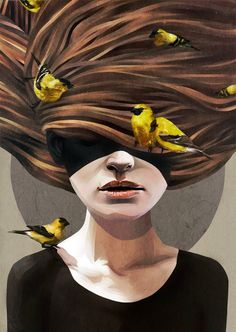 Girl With Finches by Ruben Ireland, via Behance