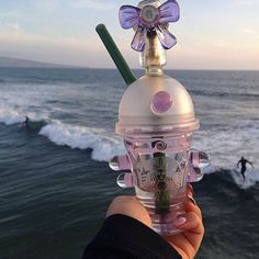 dabacino dab oil rig with purple rain colored bow Glass Pipes, Water Pipes, Smoking Pieces, Cool Pipes, Starbucks Frappuccino, Starbucks Cup, Up In Smoke, Dark Smoke, Puff And Pass