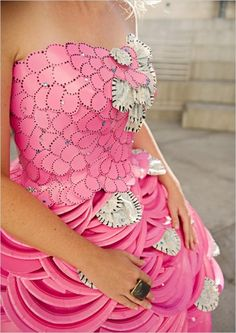 dress made from pink plastic plates