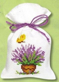 cute cross stitch idea for making scented lavender pouches free cross stitch chart