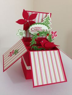 Handmade christmas card in a box. it folds flat by Deeshandcrafted