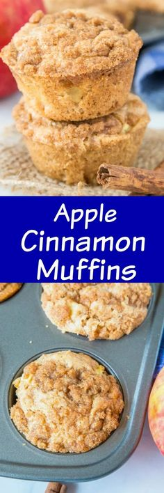 Apple Cinnamon Muffins - a great easy muffin loaded with apples and plenty of cinnamon. They are completely with a cinnamon struesel topping and make for a delicious breakfast or brunch! Sweet Breakfast, Breakfast Recipes, Snack Recipes, Breakfast Cookies, Muffin Recipes, Breakfast Ideas, Vegan Recipes, Dessert Recipes, Apple Cinnamon Muffins
