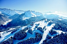 Morzine ski resort with view on Mont Blanc