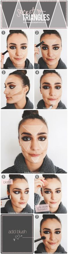Highlight & Contour Trick: Secret Triangles steps Contouring And Highlighting, Contour Makeup, Face Makeup, Kiss Makeup, Makeup Looks, Face Contouring, All Things Beauty, Beauty Make Up, Hair Beauty