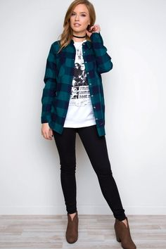 - Details - Size Guide - Model Stats - Contact Be a champion of plaid in this navy Ace Flannel Top! Featuring soft, flannel-knit fabric with minimal stretch. Fold-down collar and button-down front. Tw