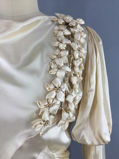 Vintage 1930s Wedding Dress Ivory Champagne Silk Satin Bridal Gown 30s Bias Cut Art Deco