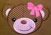 Teddy Bear Applique Design - machine embroidery - Many formats