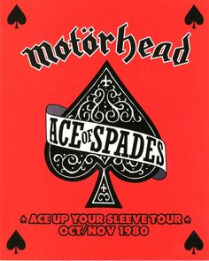 Motorhead - Ace Up Your Sleeve Tour Oct-Nov 1980 classic rock concert poster. #gigposters #musicart http://www.pinterest.com/TheHitman14/music-poster-art-%2B/
