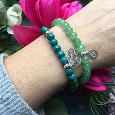 green bracelet gemstone set, clock charm, initial disc, www.anemonatelier.etsy.com