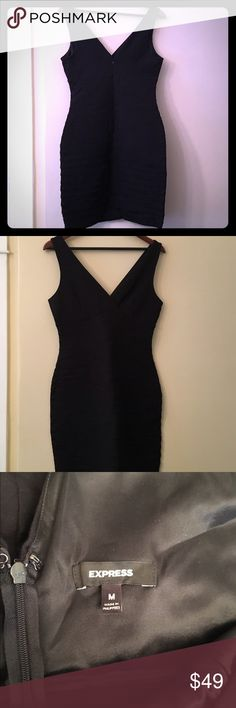 EUC Black bandage dress from Express in a medium This dress is flattering and sexy. Size medium from Express. Plenty of stretch and a flattering neckline. Would fit a 6 to a small 10 Express Dresses