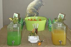 Dinosaur party.  Dino drinks, carnivor cold cuts, games, favors, etc.