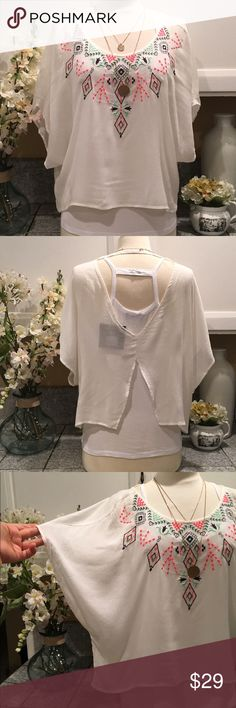 LUSH Embroidered Top Awsome white with colorful embroidered Top. Very cool and flawy. With a cute open back style. In excellent NEW condition. Lush Tops