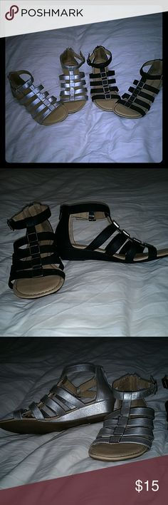 """Gladiator sandals 2 pairs of croft & barrow sandals available. 1 black and 1 silver. 1/2"""" heel. croft & barrow Shoes Sandals"""