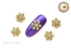 Gold Stella Crystal Snowflake Metal Charm Nail Arts Decoration - 2 pcs