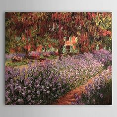 Hand-painted Oil Painting The Garden by Claude Monet with Stretched Frame - WallArtBox