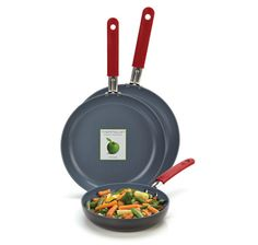 This set is available on The Shopping Channel-Canada--The GreenPan™ Gourmet 3 Piece Hard Anodized Fry Pan Set marks the worldwide launch of GreenPan™ Gourmet, a line that features stainless steel silicone handles on professional hard anodized cookware.