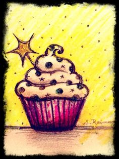 Cupcake drawing with crayons and ink Cartoon Cupcakes, Yummy Cupcakes, Cupcake Kunst, Cupcake Art, Cupcake Illustration, Food Drawing, Painting & Drawing, Painting For Kids, Art For Kids