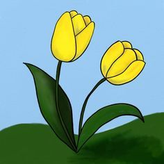 Cum se deseneaza doua lalele - By Oana Diy Art, Garden Art, Wood Crafts, Coloring Pages, Origami, Pikachu, Mosaic, Drawings, Plants