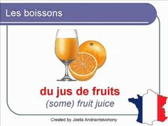 French Lesson 26 - FOOD VOCABULARY - LES BOISSONS (Drinks) Lecciones de Frances