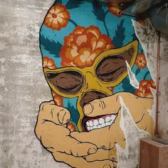 Artist @unga_bfc #mural #wallart #sprayart #spraypaint #graffiti #collage #luchador #drawing #painting #arteurbano #streetart #graphicdesign #contemporaryart