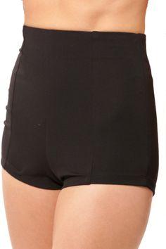 High Waist Knit Shorts - Black