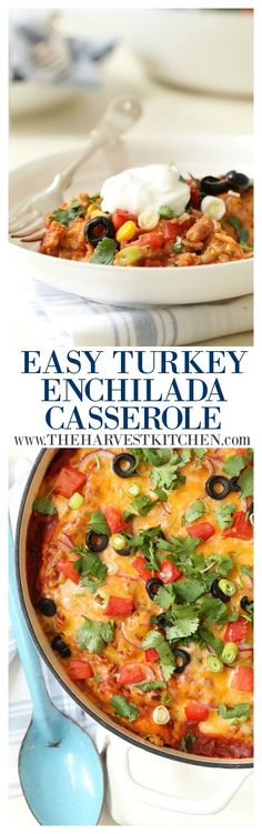 This Easy Turkey Enchilada Casserole is loaded with ground turkey, corn, pinto beans, tortillas and an easy homemade enchilada sauce. This delicious stacked enchilada casserole is sure to be a hit at your dinner table!