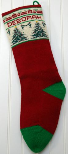 Image result for knitted christmas stockings tree