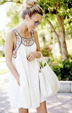 2017 SPRING & SUMMER FASHION TRENDS! Sleeveless cream dress with peach and blue embroidering at neck line. Boho dress. Summer 2017 Stitch Fix #SPONSORED
