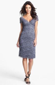 MARINA Tiered Lace Dress available at #Nordstrom-----Like this except would like 3/4 length sleeve