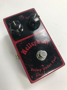 A first series Hellephant Fuzz pedal, marked #18.* the face has paint scratches in the silkscreen (pic inc.) Minor scuffing and nicks in the body.  The Hellephant has a foundation inspired by the vintage Fuzz Face but has been modified to give you a very usable fuzz that works great with your guitar's controls to yields a variety of tones.