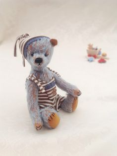 Baby boy blue mohair bear - Traditional style mohair artist teddy bear by LakeDistrictTeddies on Etsy