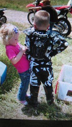 Cousins getn ready to ride dirt bikes